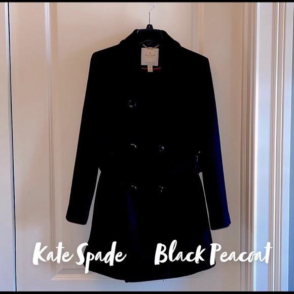 Kate Spade Black Belted Pea Coat Medium